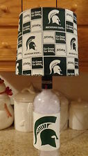 Sports Table/Desk Lamp (Hand-Painted Michigan State Logos/Team Shade)