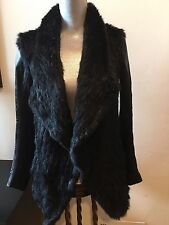 NEW DYLAN GRAY BLACK FUR LEATHER SLEEVES JACKET COAT CARDIGAN BLAZER SIZE L