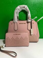 NWT MICHAEL KORS STUDDED LEATHER HAYES MEDIUM MESSENGER PASTEL PINK WITH WALLET