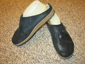 Haflinger Black Leather Clogs Mules 40/9 M