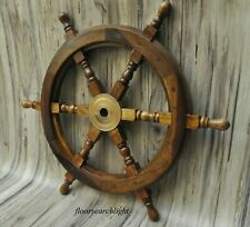 "Nautical Ship Wheel, Pirate Captain 24"" Brass/Wooden Handmade Collectible Gift"