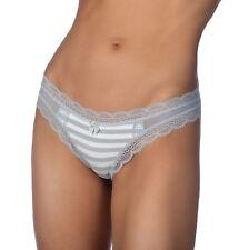 Jezebel Ladies Stripe Lace Trim Cotton Thong Panty Underwear 5008P