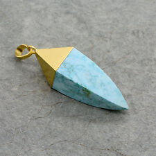 Turquoise Point Pendant - 24K Gold Dipped Blue Howlite Pointer Gemstone Jewelry