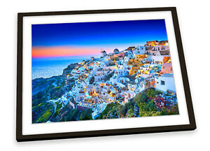 Fira Santorini Island Greece Blue FRAMED ART PRINT Picture Poster Artwork