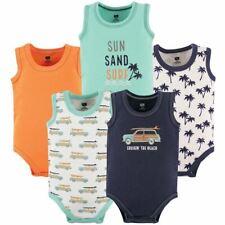 Hudson Baby Boy Sleeveless Bodysuits, 5-Pack, Little Surfer