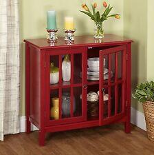 Red Storage Cabinet w/ 2 Door 1 Adjustable Shelf Wood Kitchen Accent Furniture