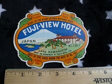 1930s Fuji View Hotel, Lake Kawaguchi Japan, Vintage Luggage Label