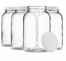 1-Gallon Glass Jar Wide Mouth with Airtight Plastic Lid Clear (4 Pack)