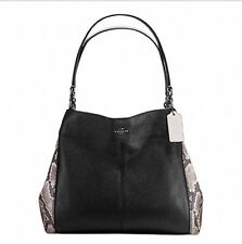 Coach Lexy Shoulder Bag with Snake Embossed Leather Trim F57505 NWT