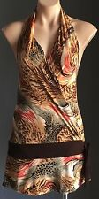 Beautiful Flattering Multi Colour TEMT Halter Neck Backless Top Size M (10)