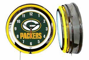 "Green Gay Packers 19"" Yellow Neon Clock Man Cave Game Room Garage Bar Football"