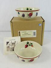 "New Longaberger Pottery ""Berry"" Set Of 2 Dessert Bowls #31325"