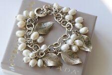 Silpada Freshwater Pearl .925 Sterling Silver Leaf Charm Cha Cha Bracelet B1631