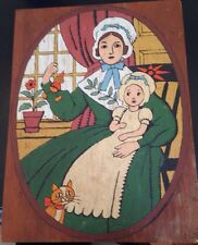 Folk Art Oil Painting On Wood Board Mother Baby Avalon Paint By Numbers Mid Cent