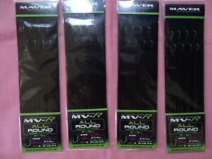 4 x Maver MV-R All Round barbless hooks to nylon 1x each of size14, 16, 18, & 20