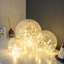 Set Of 3 Warm White LED Glass Battery Operated Indoor LED Fairy Light Orb Balls