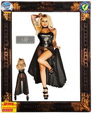 langes Kleid F139 Noir Handmade Übergröße Wetlook-Material Tüll Clubwear Sexy