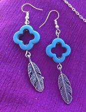 Boho Turquoise Handmade Earrings With Feather