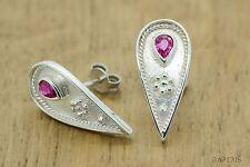 Byzantine Ruby Stud Pear Earrings Etruscan Style Byzantine 925 Sterling Silver