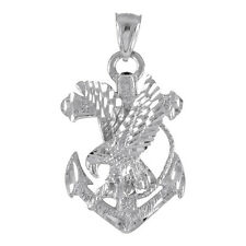 Pure White Gold Anchor Eagle Diamond Cut Pendant