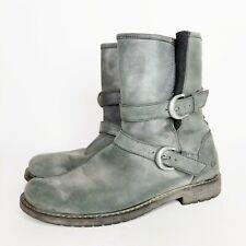 Caterpillar CAT Realist Hi Gray Mid Calf Boots Women's 11 Buckles Nubuck Leather