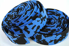 ROAD BIKE CORK HANDLEBAR TAPE PADDED BICYCLE BAR WRAP BLACK/BLUE MARBLE/CAMO