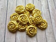 12 Edible GOLD Sugar paste ROSES Flowers Cupcake /Cake Toppers -Wedding Birthday