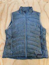 PATAGONIA WOMEN SIZE LARGE DISTRESSED GOOSE DOWN BLUE FULL ZIP PUFFER VEST