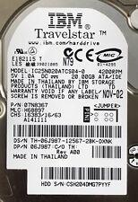 "IBM 20GB TravelStar IC25N020ATMR04 08K0632 Laptop ATA IDE Hard Disk Drive 2.5"""