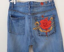 Sean John Embroidered Metal Studded Jeans Men's Size 36x34