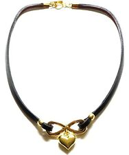 Black Leather Yellow Gold Plated Infinity Love Heart & Bow Statement Necklace