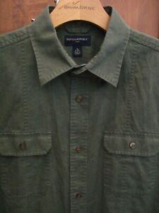 BANANA REPUBLIC Men's LINEN BLEND Short Sleeve Shirt, OLIVE DRAB GREEN, MEDIUM