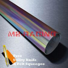 "*60""x360"" Holographic Black Rainbow Chrome Car Vinyl Wrap Bubble Free Sticker"
