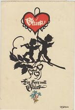 SILHOUETTE Leaves FAIRIES Happiness Heart Flowers FANTASY German PC 1940