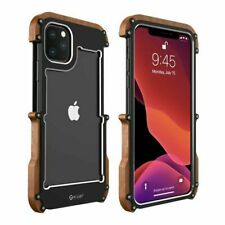 Metal Wooden Wood Frame Bumper Cover Shockproof Case For iPhone 11 Pro XR XS 8 7