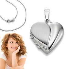 Weiß Gold 375 Foto Medaillon Herz Amulett mit Brillant Anhänger mit Silber Kette