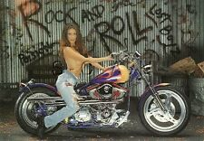 Original 1980s-90s US Large Pinup PC- Semi Nude Woman- Rock & Roll- Motorcycle