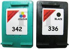 Remanufactured 336 Negro 342 Colour Cartuchos de Tinta Combo Fit HP Photosmart C3180