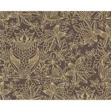 Belgravia Owl Pattern Floral Leaf Bird Motif Chocolate Designer Wallpaper 9712-B
