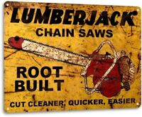 Lumberjack Chain Saws Sales Tools Equipment Garage Shop Rustic Metal Decor Sign