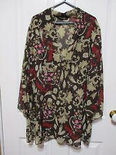 Ladies Blouse in Autumn Floral tones Plus size 20 long sleeves