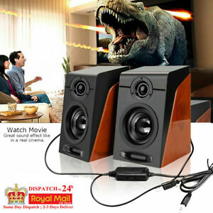Mini Stereo Bass Speakers for Computer PC Laptop Tablet Desktop Boxes USB UK