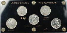 United States Type Silver Quarters 5 Coin Set with 1875 S 20 Cent Piece