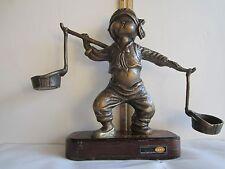 "One Korean Boy Carries Of Bronze Statue 10""H x 3""D x 7.5""W(25x7.5x25 Cm) Vintage"