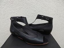 TSUBO BLACK LEATHER GERRI T- STRAP WEDGE HEELS/ SANDALS, US 9/ EUR 40 ~NIB