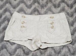 Express Womens Juniors Size 0 Tan Ivory Linen Blend Booty Shorts