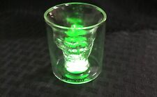 New NIB Rare Collectible Clear Jagermeister Light Up Lighted Skull Shot Glass