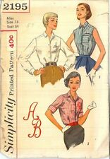 Vintage Misses' and Women's Blouses Sewing Pattern S2195 Size 14
