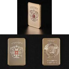 USSR Soviet National Emblem CCCP Gold Plated Bullion Bar Russian Souvenir Coin