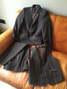 VIVAKI Boy's Tweed Brown Lilac Striped 3 Piece Wedding Suit Page Boy Age 7 Years